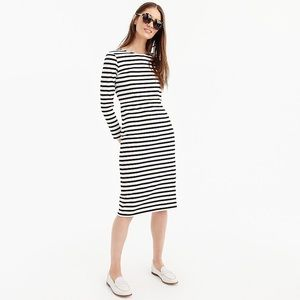 New J. Crew Striped Long Sleeve Midi Dress